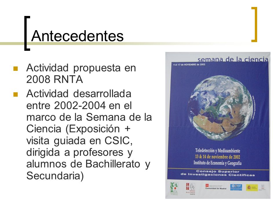 Antecedentes Actividad propuesta en 2008 RNTA