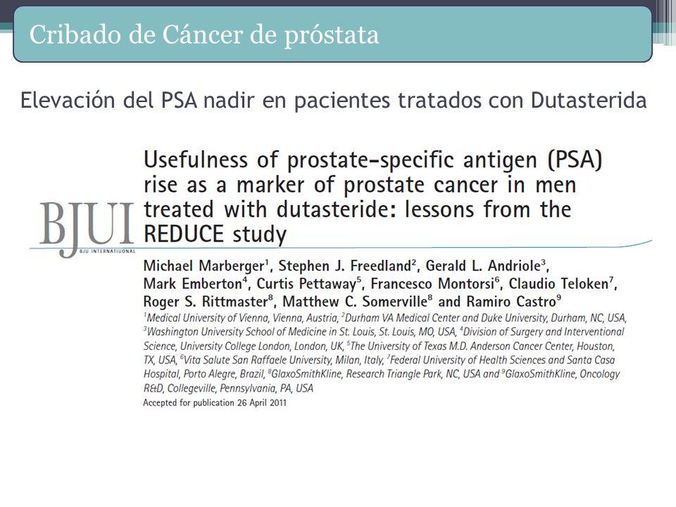 Elevación del PSA nadir en pacientes tratados con Dutasterida