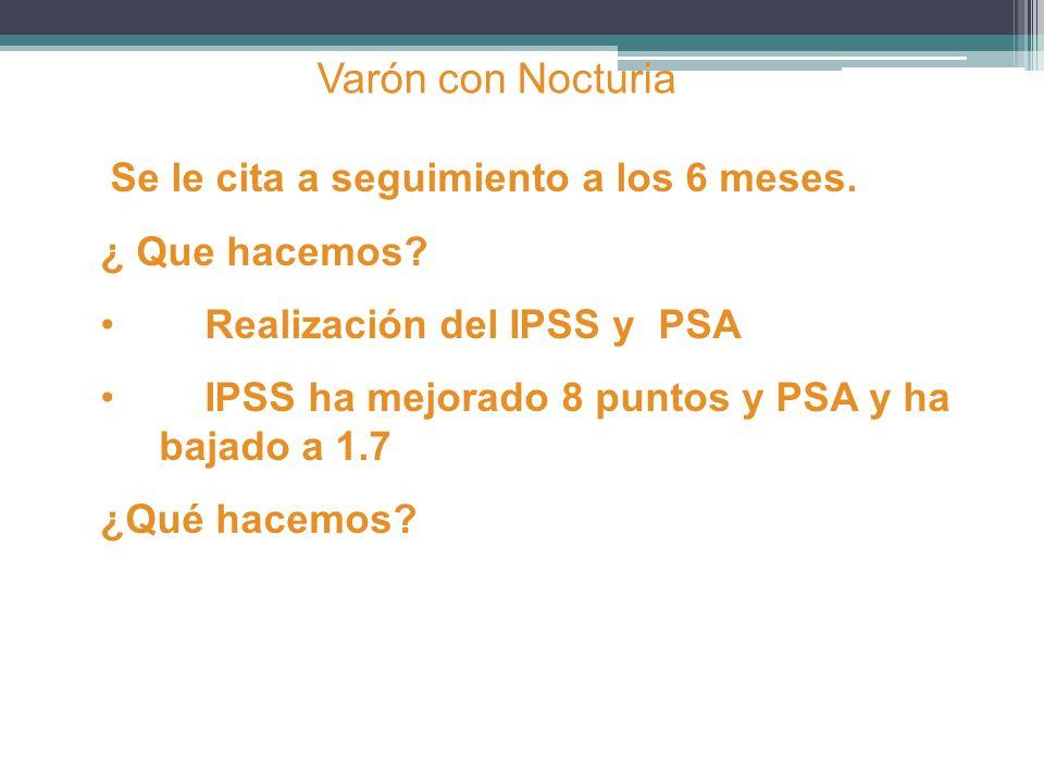 Varón con Nocturia ¿ Que hacemos Realización del IPSS y PSA