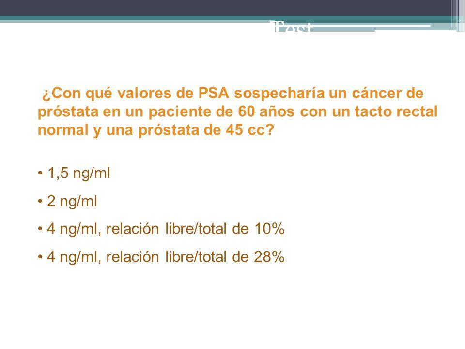 Test ¿Con qué valores de PSA sospecharía un cáncer de próstata en un paciente de 60 años con un tacto rectal normal y una próstata de 45 cc