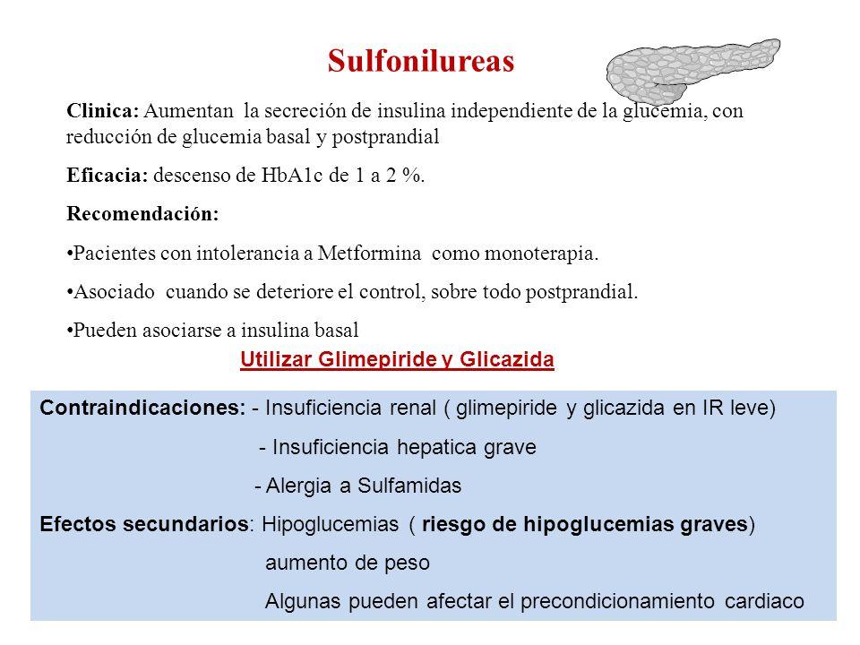 Sulfonilureas Clinica: Aumentan la secreción de insulina independiente de la glucemia, con reducción de glucemia basal y postprandial.