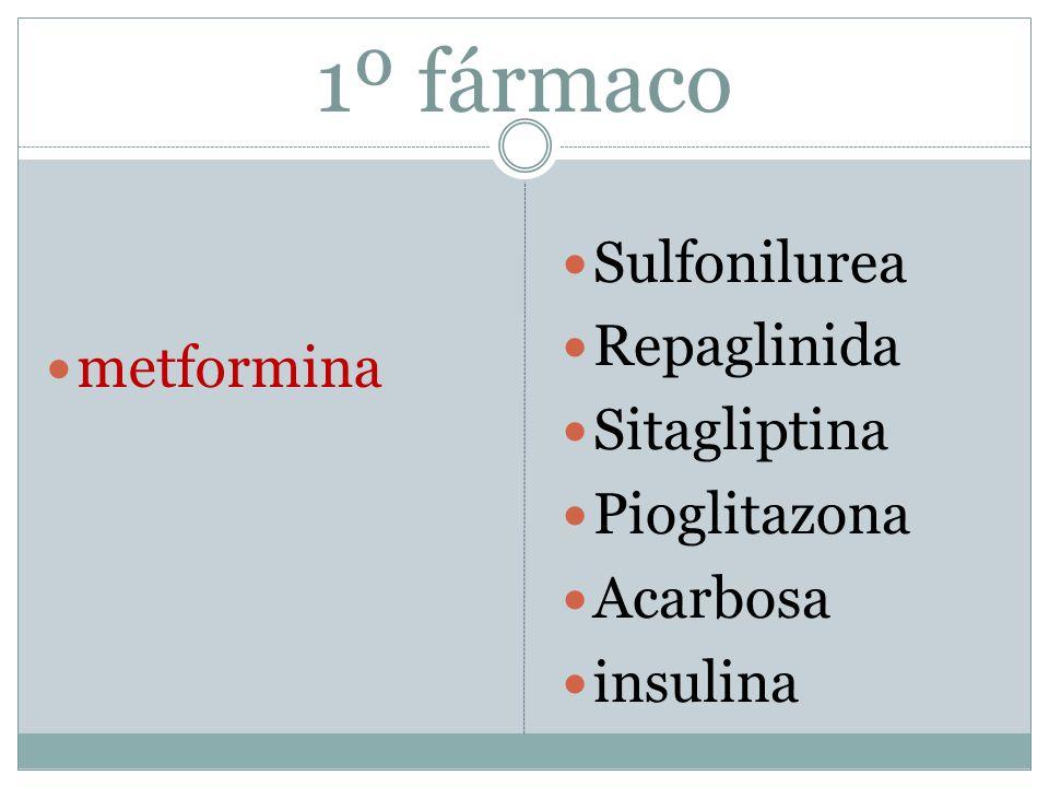 1º fármaco Sulfonilurea metformina Repaglinida Sitagliptina