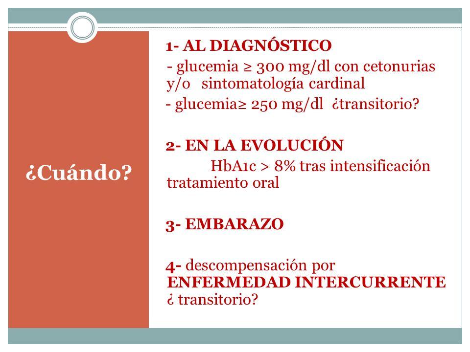 1- AL DIAGNÓSTICO - glucemia ≥ 300 mg/dl con cetonurias y/o sintomatología cardinal - glucemia≥ 250 mg/dl ¿transitorio 2- EN LA EVOLUCIÓN HbA1c > 8% tras intensificación tratamiento oral 3- EMBARAZO 4- descompensación por ENFERMEDAD INTERCURRENTE ¿ transitorio