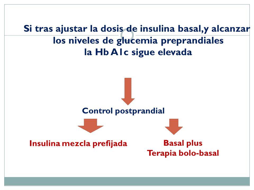 Si tras ajustar la dosis de insulina basal,y alcanzar
