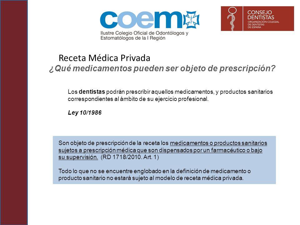 Receta Médica Privada ¿Qué medicamentos pueden ser objeto de prescripción