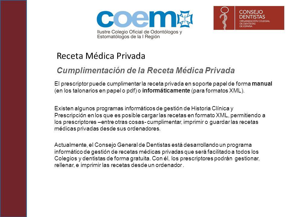 Receta Médica Privada Cumplimentación de la Receta Médica Privada