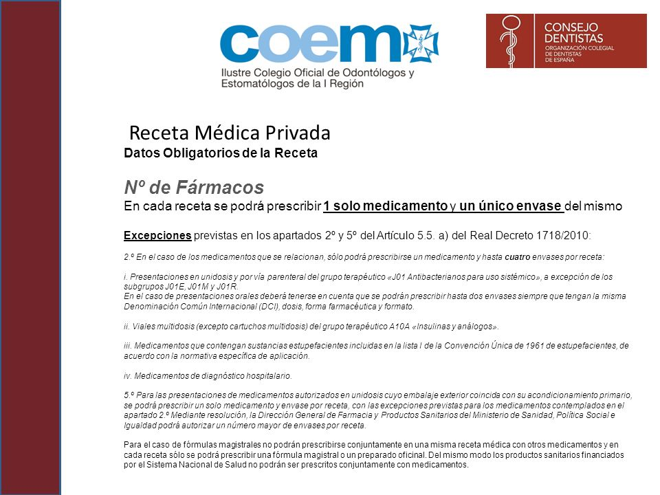 Receta Médica Privada Nº de Fármacos Datos Obligatorios de la Receta