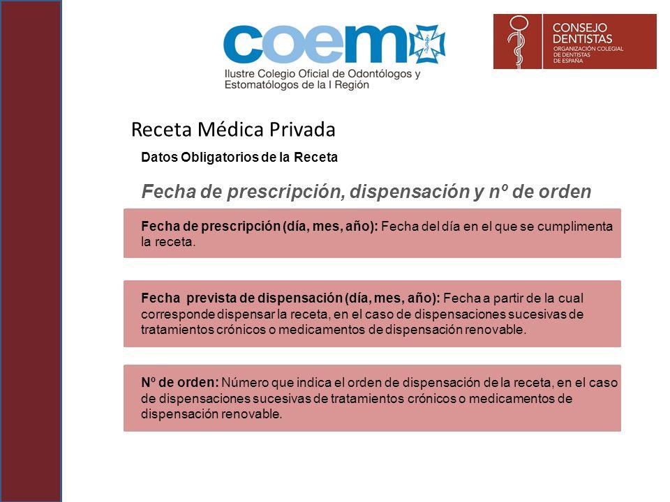 Receta Médica Privada Datos Obligatorios de la Receta. Fecha de prescripción, dispensación y nº de orden.