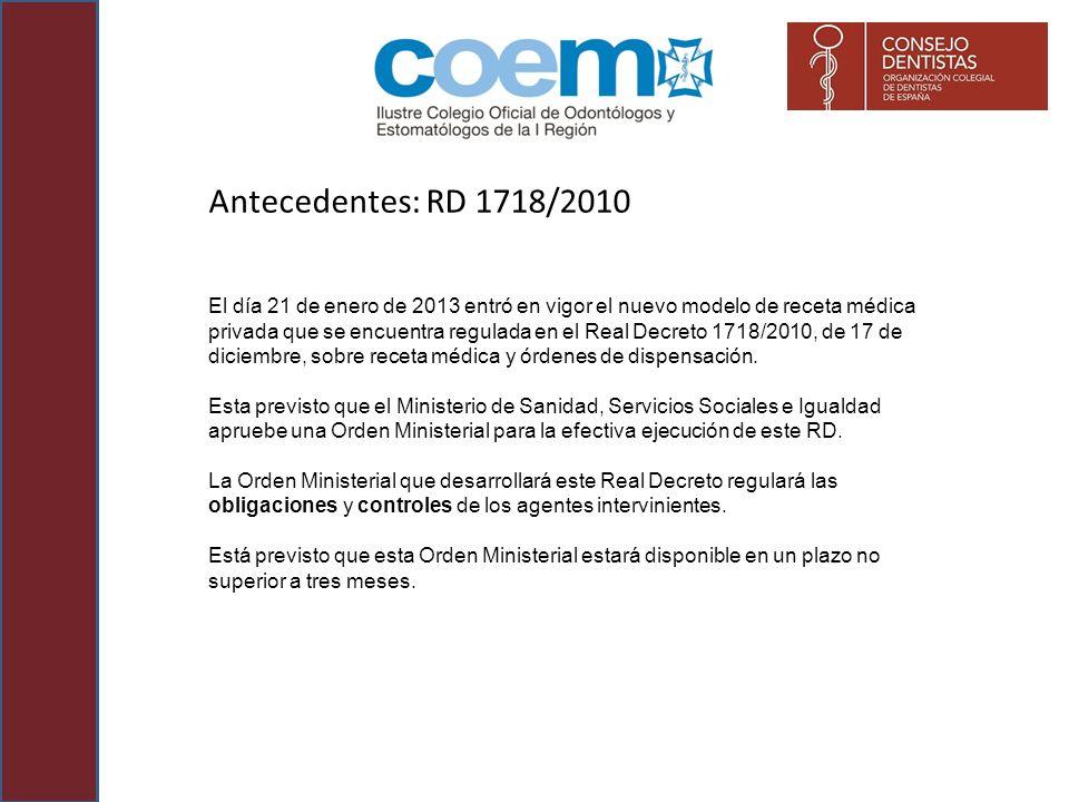 Antecedentes: RD 1718/2010