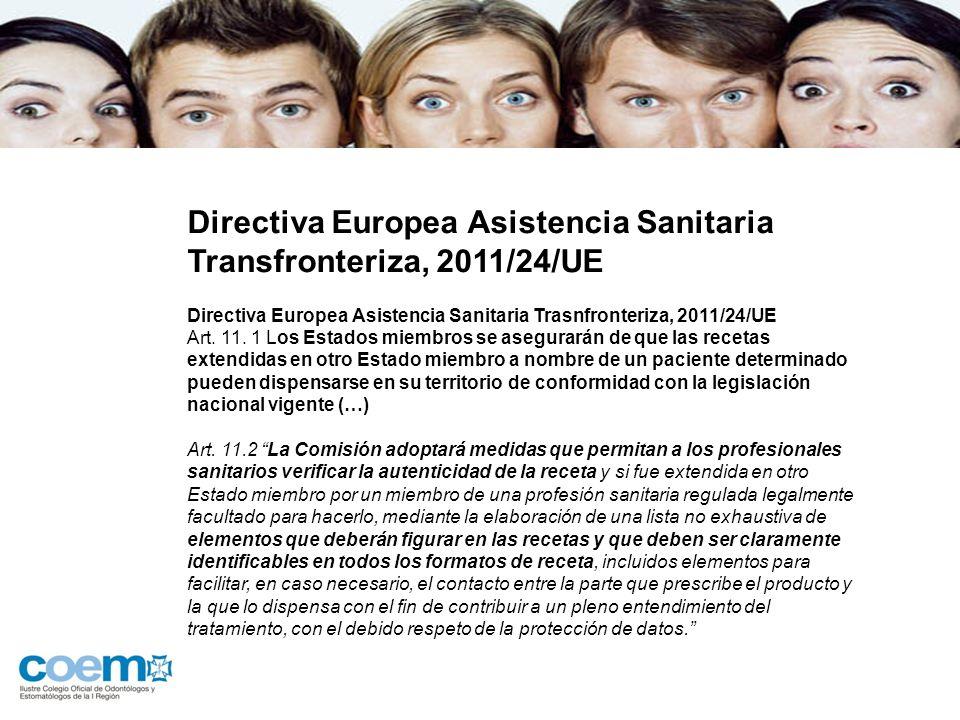Directiva Europea Asistencia Sanitaria Transfronteriza, 2011/24/UE