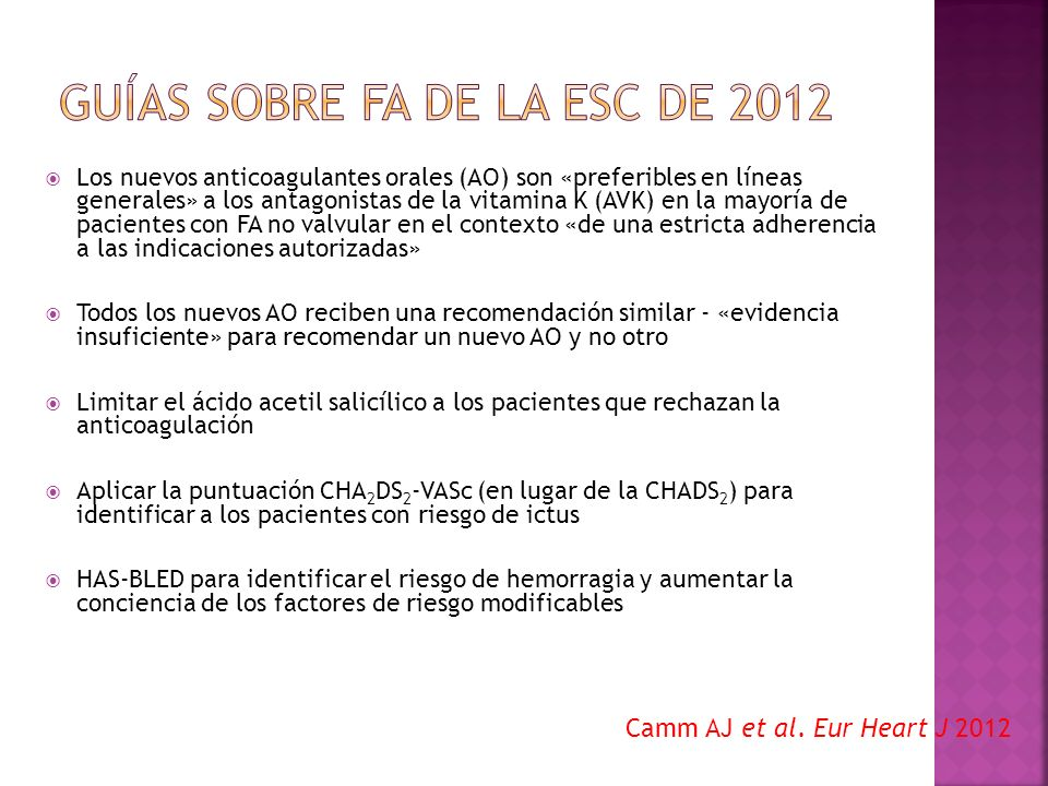 Guías sobre FA de la ESC de 2012