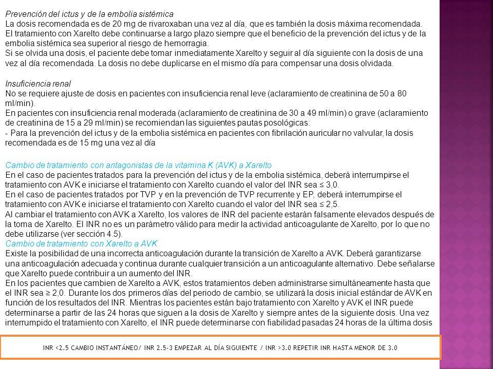 Prevención del ictus y de la embolia sistémica
