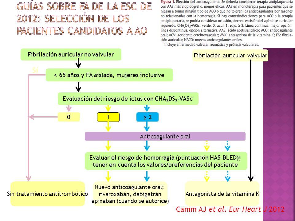 Guías sobre FA de la ESC de 2012: selección de los pacientes candidatos a AO