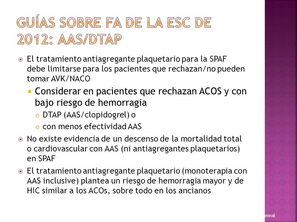 Guías sobre FA de la ESC de 2012: AAS/DTAP