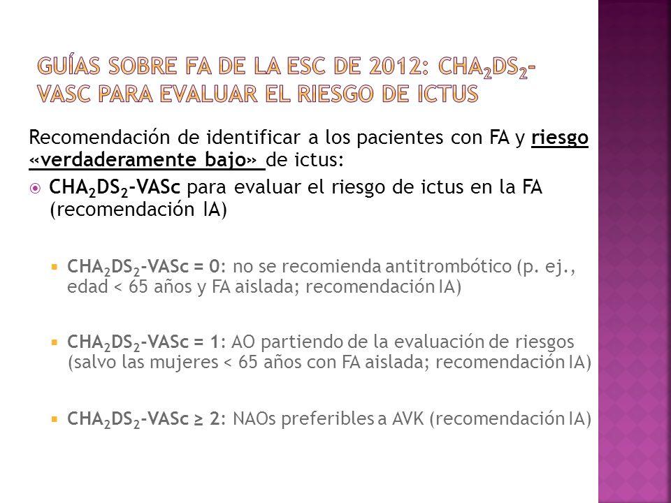 Guías de la ESC de 2012Guías sobre FA de la ESC de 2012: CHA2DS2-VASc para evaluar el riesgo de ictus.