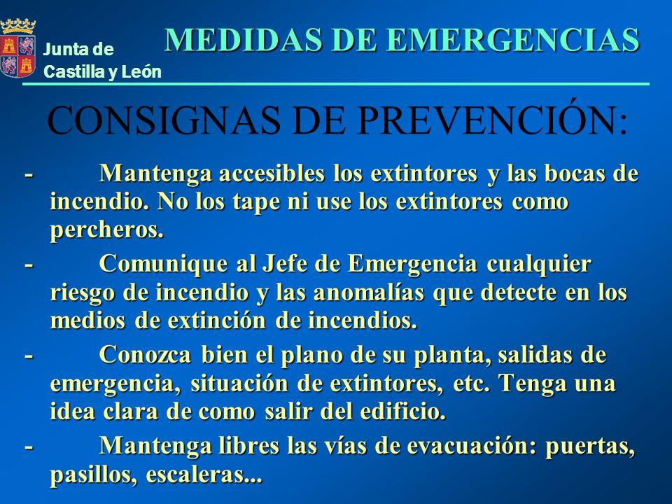 CONSIGNAS DE PREVENCIÓN: