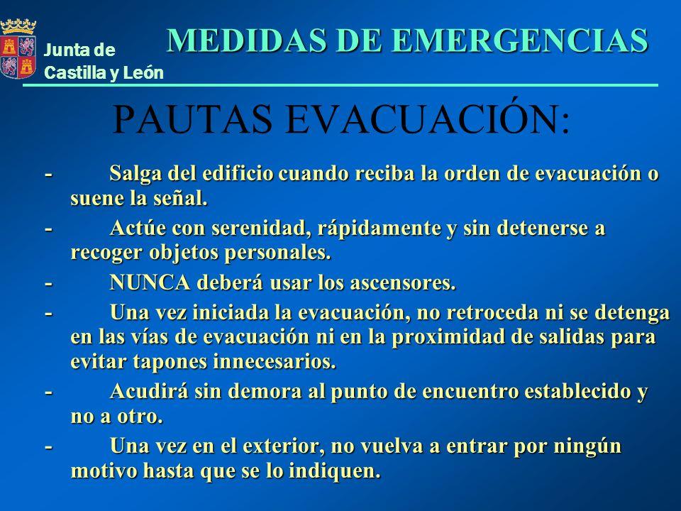 PAUTAS EVACUACIÓN: MEDIDAS DE EMERGENCIAS