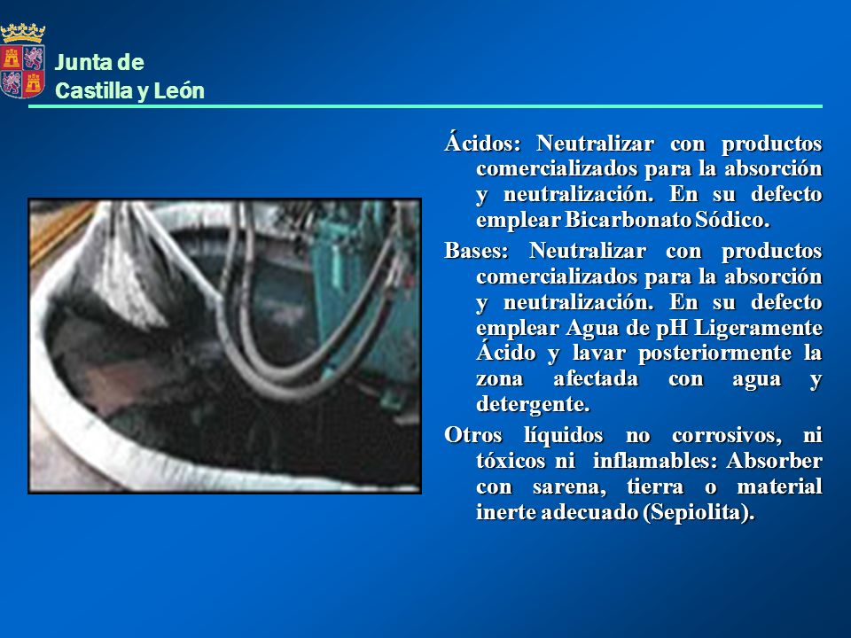 Ácidos: Neutralizar con productos comercializados para la absorción y neutralización. En su defecto emplear Bicarbonato Sódico.