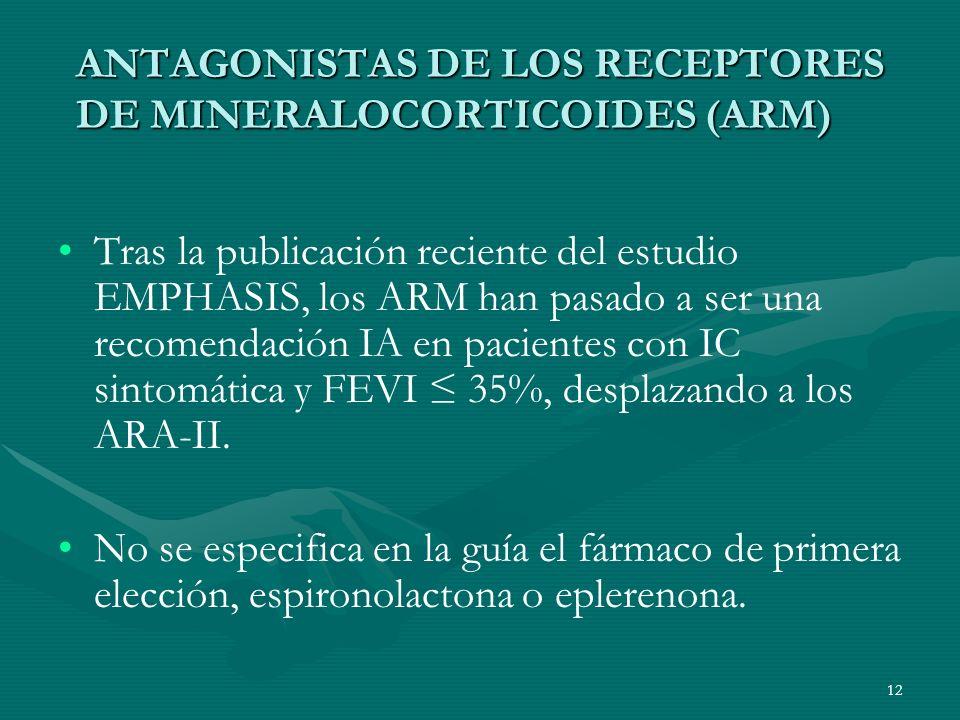 ANTAGONISTAS DE LOS RECEPTORES DE MINERALOCORTICOIDES (ARM)