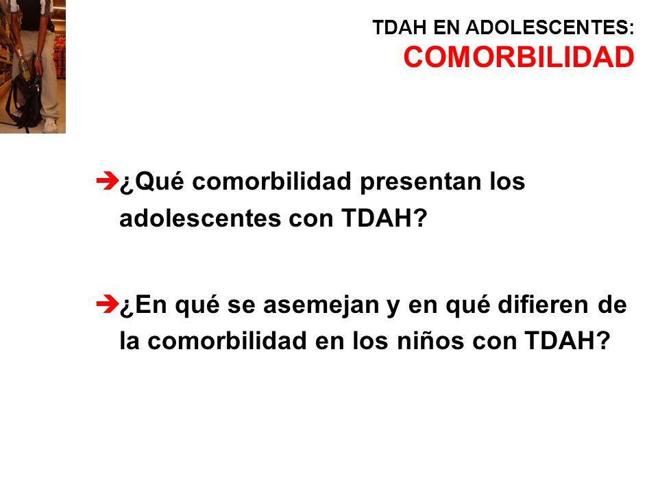 COMORBILIDAD ¿Qué comorbilidad presentan los adolescentes con TDAH