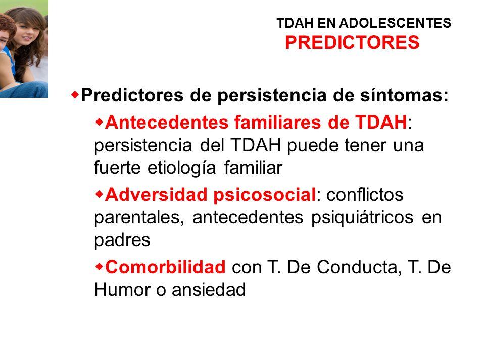 Predictores de persistencia de síntomas: