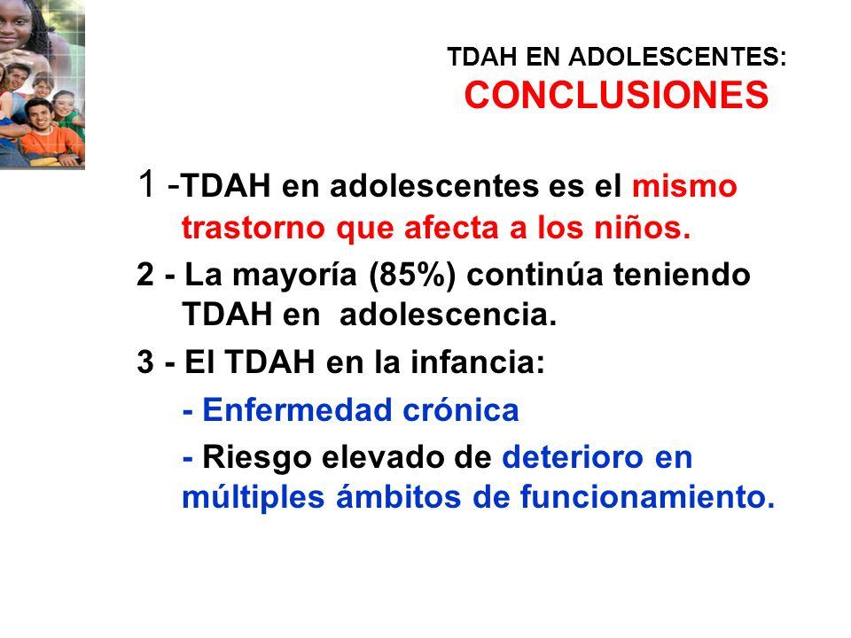 TDAH EN ADOLESCENTES: CONCLUSIONES