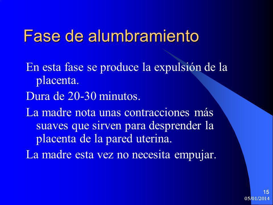 Fase de alumbramiento En esta fase se produce la expulsión de la placenta. Dura de 20-30 minutos.