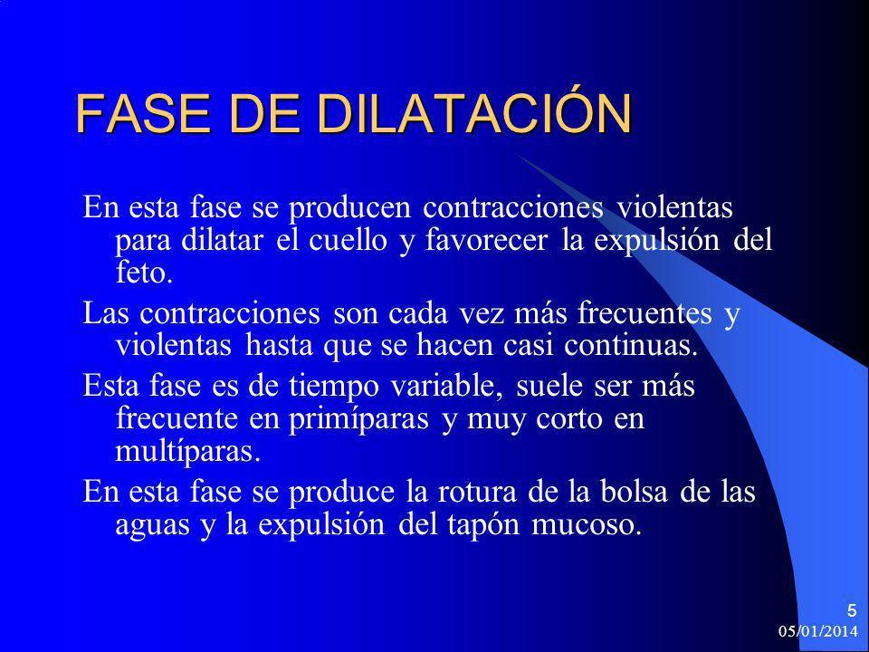 FASE DE DILATACIÓN En esta fase se producen contracciones violentas para dilatar el cuello y favorecer la expulsión del feto.