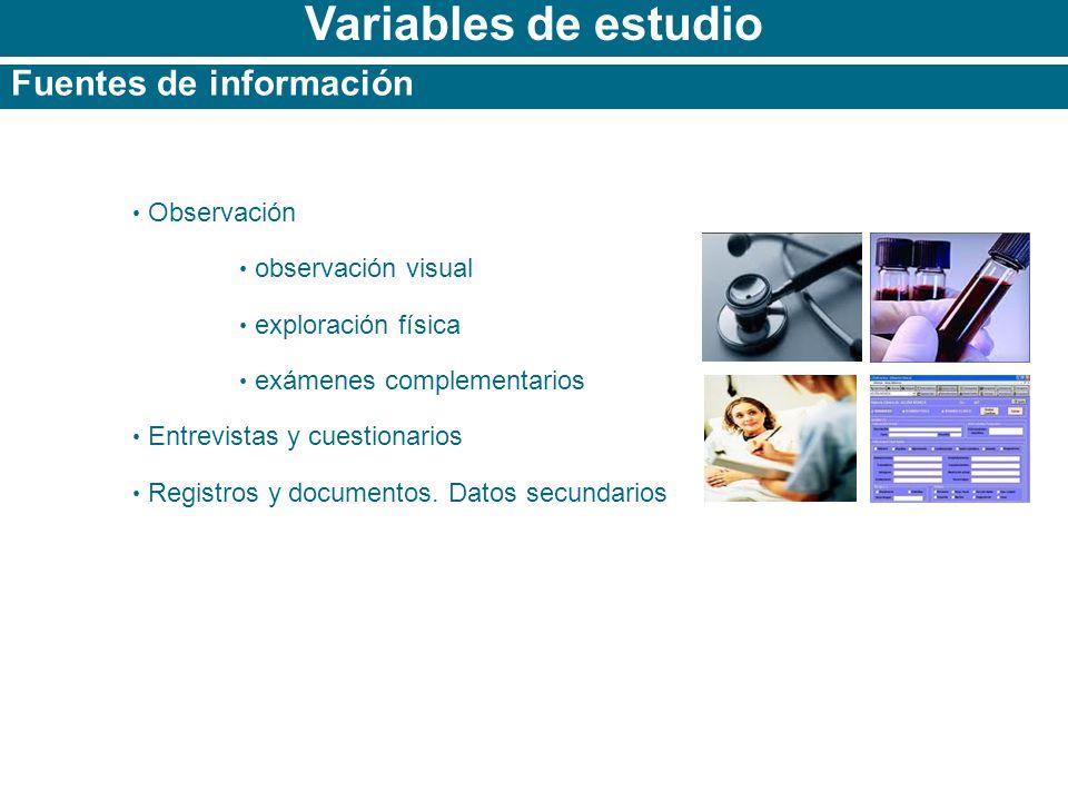 Variables de estudio Fuentes de información Observación