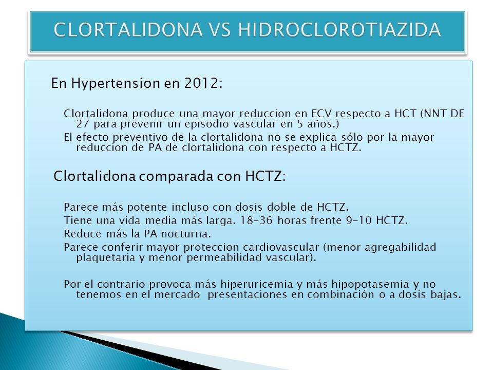 CLORTALIDONA VS HIDROCLOROTIAZIDA