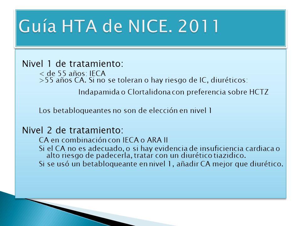 Guía HTA de NICE. 2011 Nivel 1 de tratamiento: Nivel 2 de tratamiento: