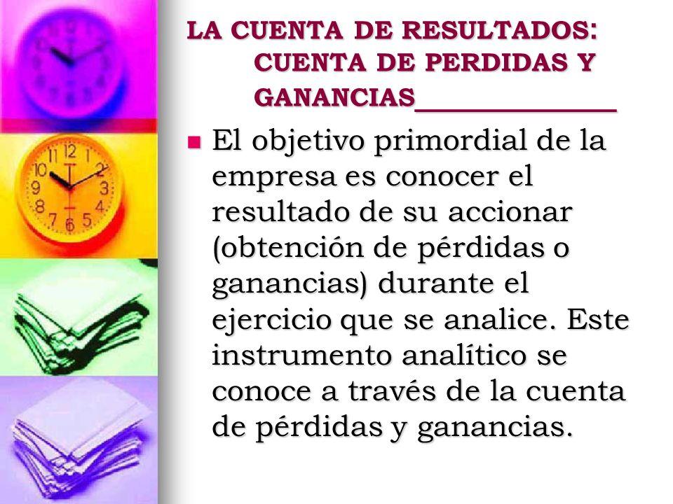 LA CUENTA DE RESULTADOS: CUENTA DE PERDIDAS Y GANANCIAS____________