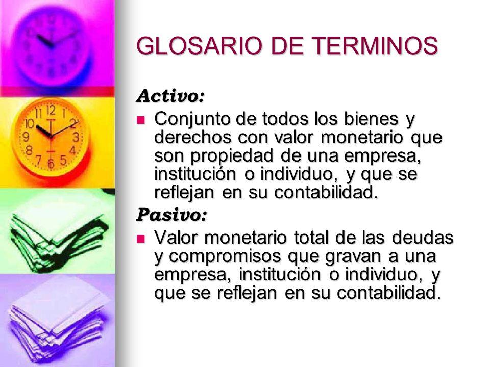 GLOSARIO DE TERMINOS Activo: