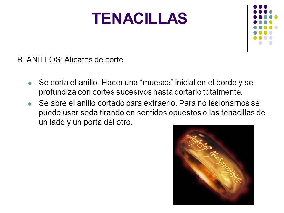 TENACILLAS B. ANILLOS: Alicates de corte.