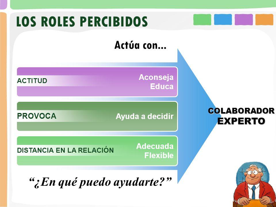 LOS ROLES PERCIBIDOS ¿En qué puedo ayudarte EXPERTO Aconseja Educa