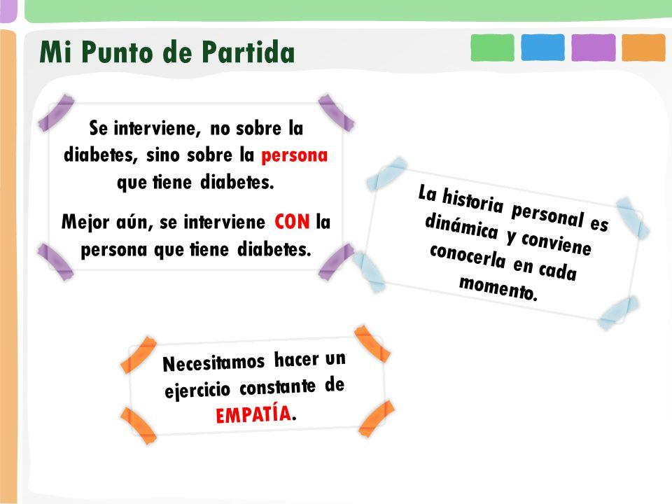 Mi Punto de PartidaSe interviene, no sobre la diabetes, sino sobre la persona que tiene diabetes.