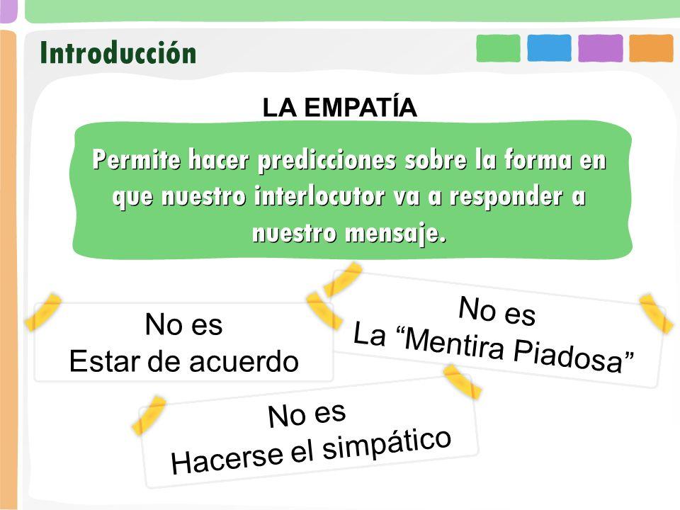 Introducción LA EMPATÍA. Permite hacer predicciones sobre la forma en que nuestro interlocutor va a responder a nuestro mensaje.