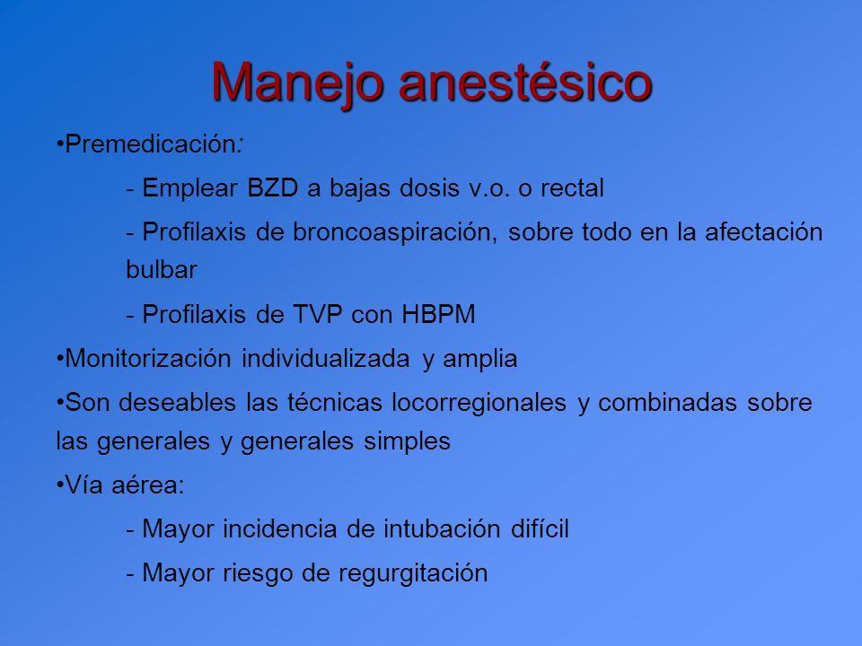 Manejo anestésico Premedicación: