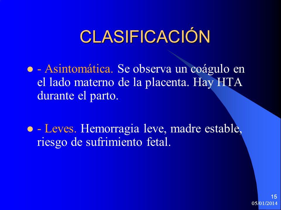 CLASIFICACIÓN- Asintomática. Se observa un coágulo en el lado materno de la placenta. Hay HTA durante el parto.