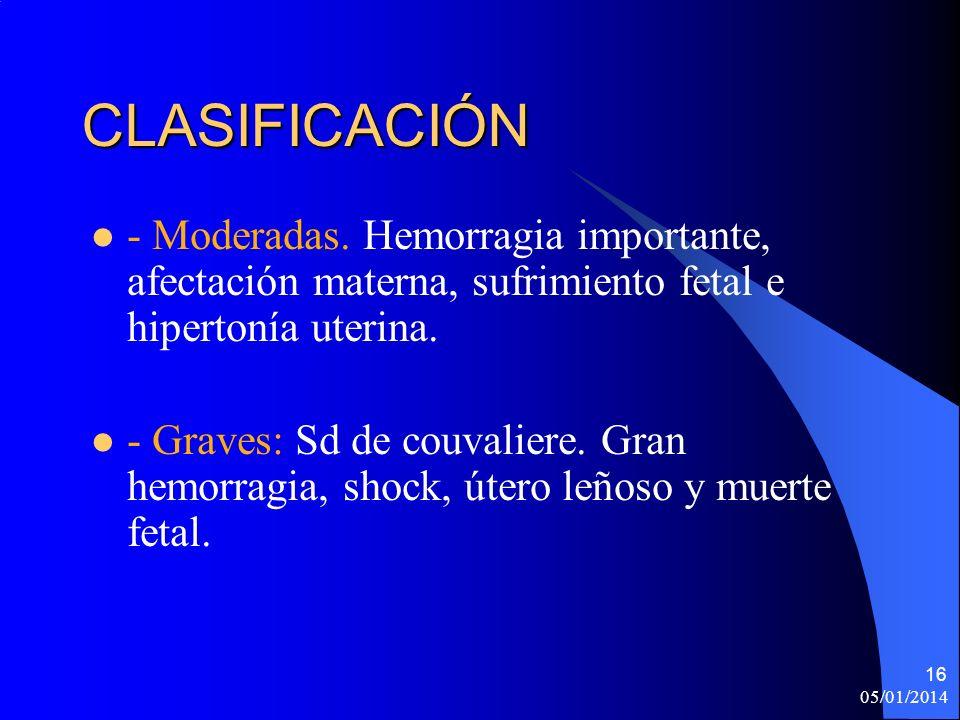 CLASIFICACIÓN - Moderadas. Hemorragia importante, afectación materna, sufrimiento fetal e hipertonía uterina.