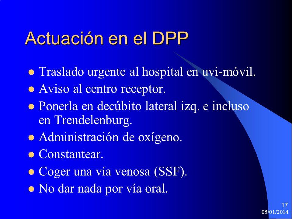Actuación en el DPP Traslado urgente al hospital en uvi-móvil.
