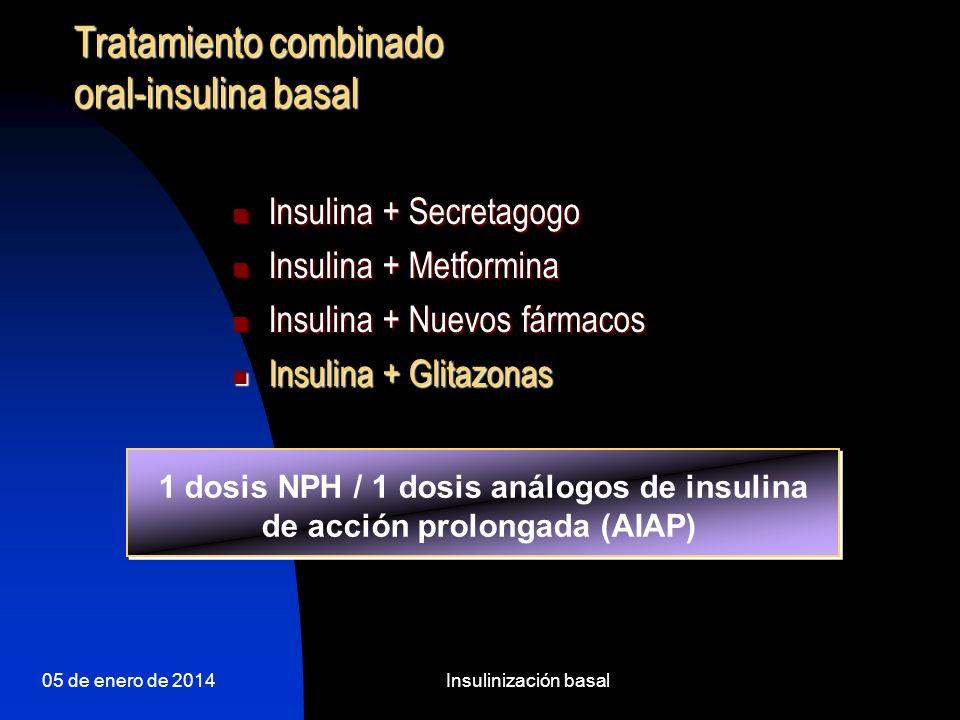 1 dosis NPH / 1 dosis análogos de insulina de acción prolongada (AIAP)