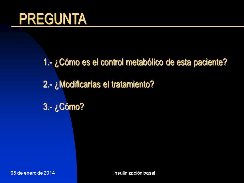 PREGUNTA 1.- ¿Cómo es el control metabólico de esta paciente
