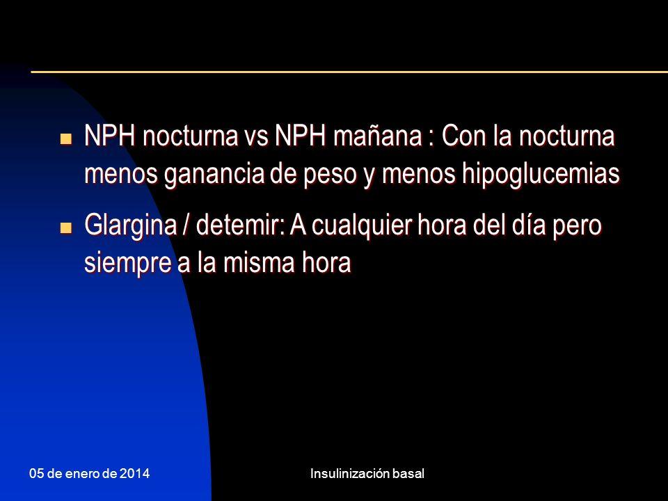 NPH nocturna vs NPH mañana : Con la nocturna menos ganancia de peso y menos hipoglucemias