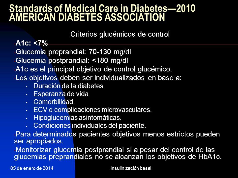 Criterios glucémicos de control