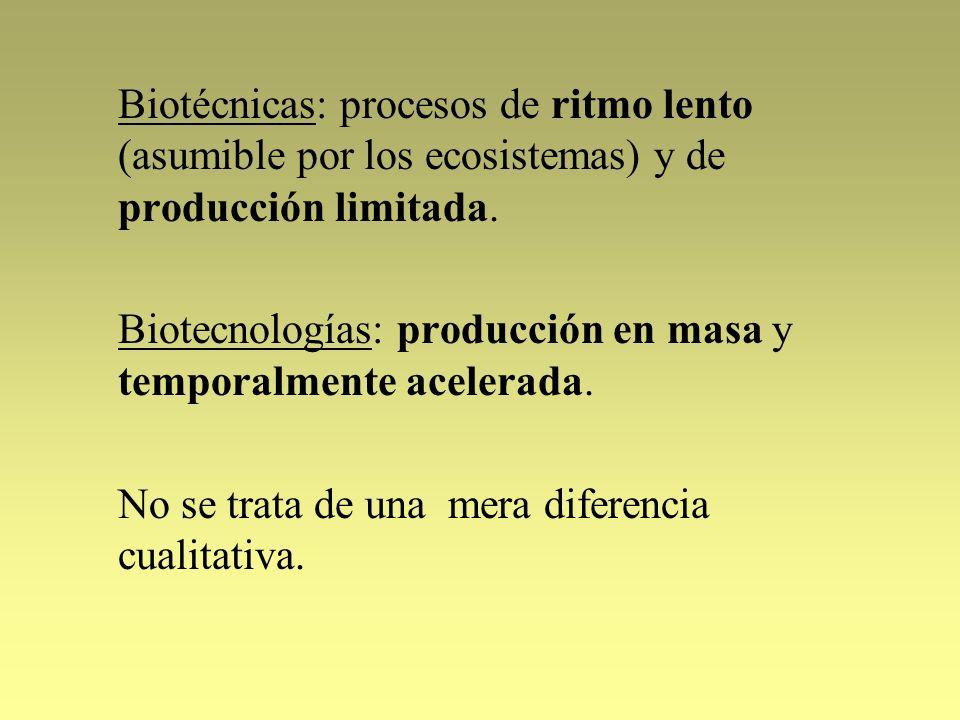 Biotécnicas: procesos de ritmo lento (asumible por los ecosistemas) y de producción limitada.