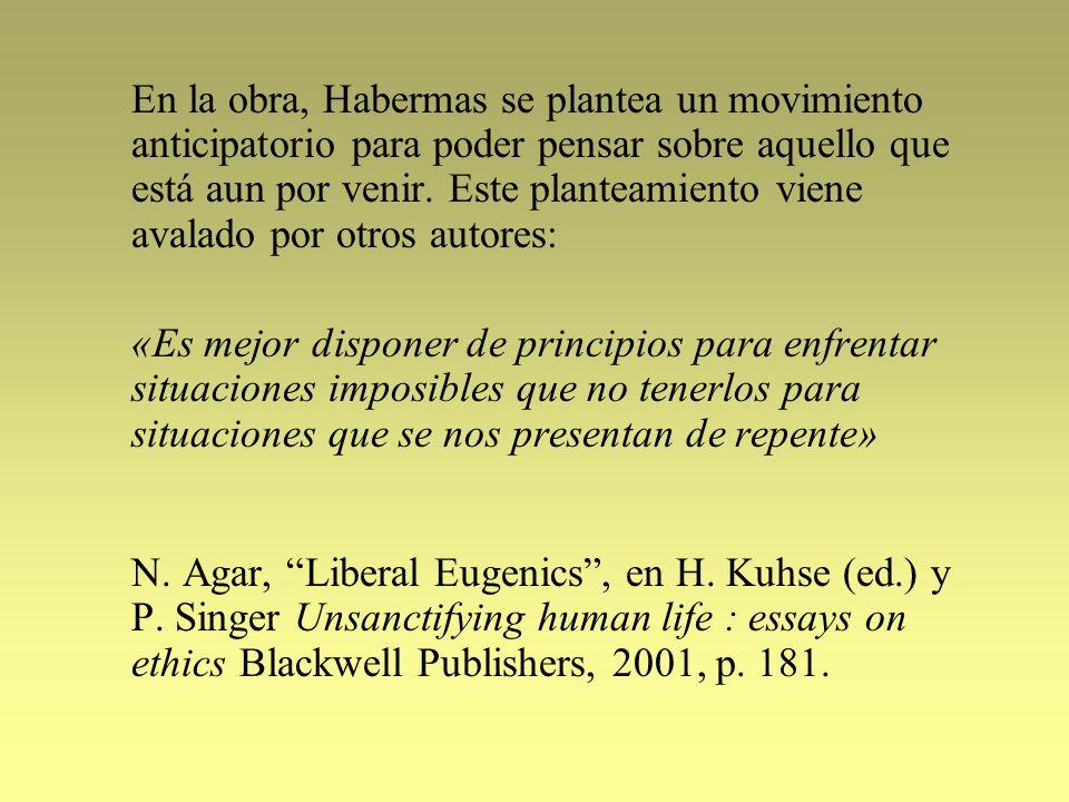 En la obra, Habermas se plantea un movimiento anticipatorio para poder pensar sobre aquello que está aun por venir. Este planteamiento viene avalado por otros autores: