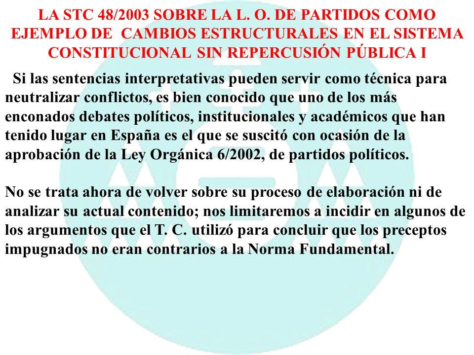 LA STC 48/2003 SOBRE LA L. O. DE PARTIDOS COMO EJEMPLO DE CAMBIOS ESTRUCTURALES EN EL SISTEMA CONSTITUCIONAL SIN REPERCUSIÓN PÚBLICA I