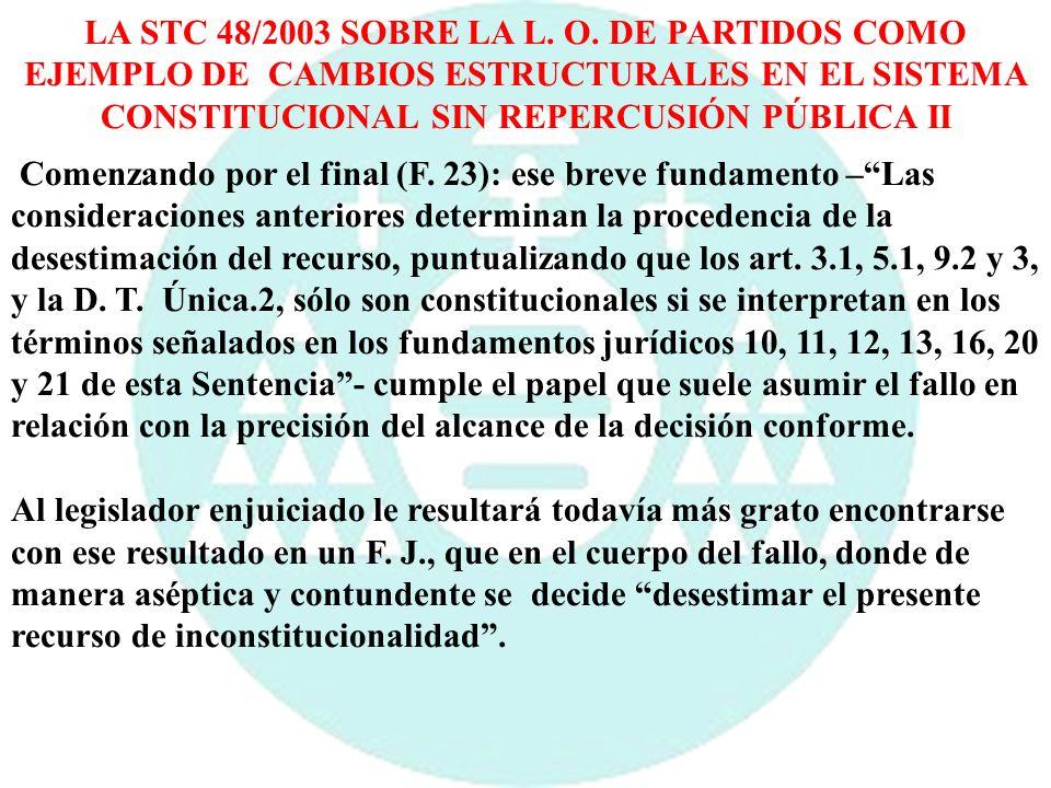 LA STC 48/2003 SOBRE LA L. O. DE PARTIDOS COMO EJEMPLO DE CAMBIOS ESTRUCTURALES EN EL SISTEMA CONSTITUCIONAL SIN REPERCUSIÓN PÚBLICA II