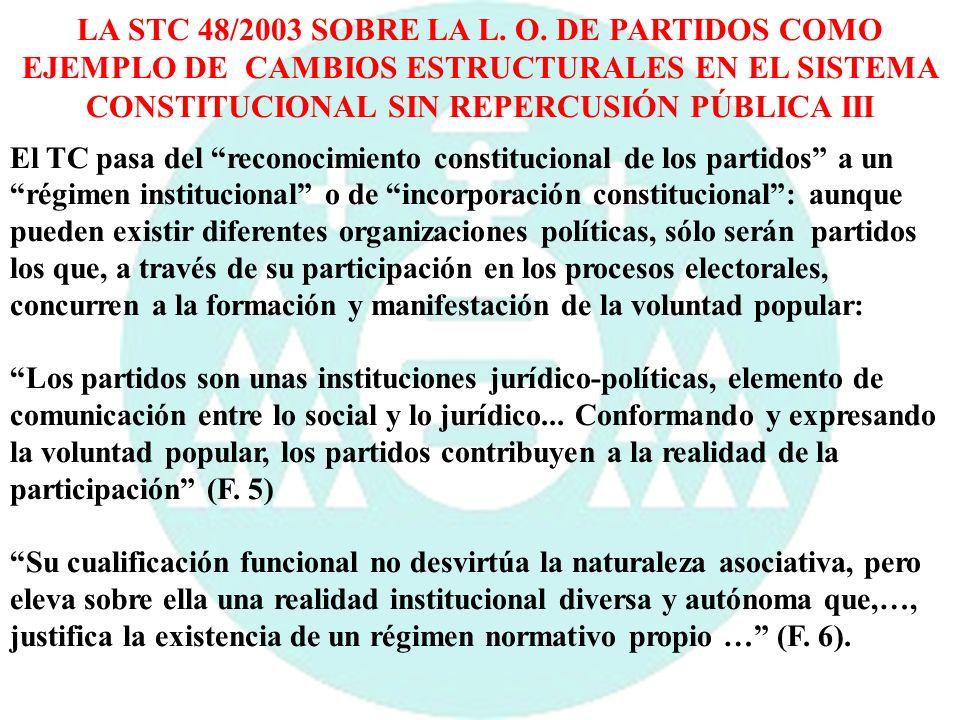LA STC 48/2003 SOBRE LA L. O. DE PARTIDOS COMO EJEMPLO DE CAMBIOS ESTRUCTURALES EN EL SISTEMA CONSTITUCIONAL SIN REPERCUSIÓN PÚBLICA III